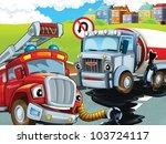 Fire truck rescue - stock photo