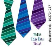 Bright Portuguese 'Happy Father's Day' neck tie card in vector format. - stock vector