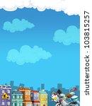 Cartoon city look 1 - stock photo