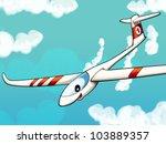 Happy cartoon glider - stock photo