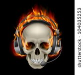 Raster version. Flaming Skull with headphones. Illustration on black background - stock photo