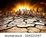 A city showing the effect of Climate Change - stock photo