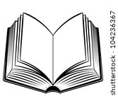 Raster version. Open Book. Black and white illustration for design - stock photo
