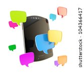 Texting: mobile phone concept surrounded with sms text cloud bubble icons illustration isolated on white - stock photo