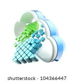 Cloud computing technology icon emblem with symbolic glossy arrow inside isolated on white - stock photo