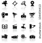 Set of black video and photo icons, illustration - stock photo