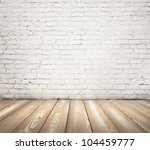 painted brick wall and brown floor - stock photo