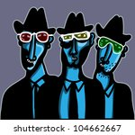 tree men with color sunglasses - stock vector