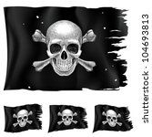 Three types of pirate flag. Illustration for design on white background - stock vector