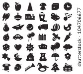 a set of black silhouettes of pictures for children - toys and different symbols - stock photo