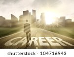 Businessman walking on the right way for a better career - stock photo
