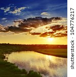 sundown over river - stock photo