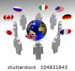 members of G8 group in a circle speaking in their own language / G8 language - stock photo