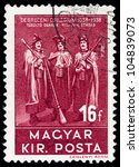 HUNGARY - CIRCA 1938: A stamp printed by Hungary, shows provincial costumes, circa 1938 - stock photo