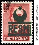 "TURKEY - CIRCA 1961: A stamp printed in Turkey shows ""RESMI"", series, circa 1961 - stock photo"