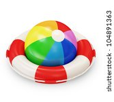 Red Lifebelt with Colorful Beach Ball on white background - stock photo