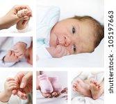 Newborn baby collection - stock photo