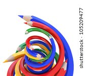 Abstract background line of colour pencil illustration - stock photo