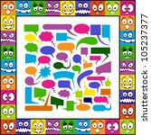Funny colorful emotions and speech bubbles. - stock vector
