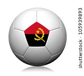 Angola Flag Pattern 3d rendering of a soccer ball - stock photo