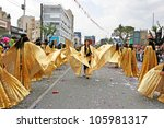 LIMASSOL, CYPRUS - MARCH 6: Unidentified participants in Egyptian costums in Cyprus carnival parade on March 6, 2011 in Limassol, Cyprus, established in 16th century, influenced by Venetians. - stock photo