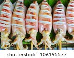 Seafood, Squid grill on the market - stock photo