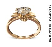The Beauty Golden Wedding Ring with Diamond on white background - stock photo