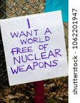 Aldermaston, United Kingdom, 1st April 2018:- CND peace banners by the main gate to the AWE where Britains nuclear warheads are made, on the 60th anniversary of the first CND march in 1958 - stock photo