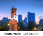 George Washington Equestrian Statue at Public Garden in Boston, Massachusetts. - stock photo