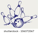 Sketch bowling - stock vector