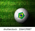 Brazil  Flag Pattern 3d rendering of a soccer ball in green grass - stock photo
