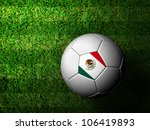 Mexico  Flag Pattern 3d rendering of a soccer ball in green grass - stock photo