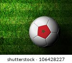 Morocco Flag Pattern 3d rendering of a soccer ball in green grass - stock photo