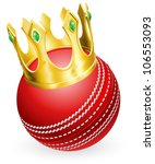 King of cricket concept, a cricket ball wearing a gold crown - stock vector