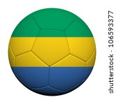 Gabon Flag Pattern 3d rendering of a soccer ball - stock photo