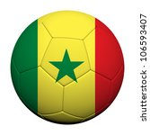 Senegal Flag Pattern 3d rendering of a soccer ball - stock photo