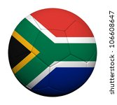 South Africa Flag Pattern 3d rendering of a soccer ball - stock photo