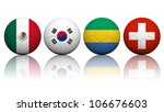 Football (soccer) at the 2012 Summer - Men's tournament Group B (Mexico,Korea,Gabon,Switzerland) - stock photo