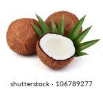 Sweet coconut with leaf - stock photo