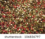 Mix of five sorts of pepper at a farmers market - stock photo