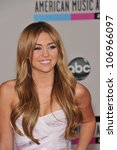LOS ANGELES, CA - NOVEMBER 21, 2010: Miley Cyrus at the 2010 American Music Awards at the Nokia Theatre L.A. Live. - stock photo