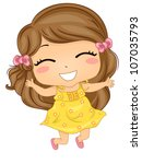 Illustration Featuring a Girl Jumping with Glee - stock vector