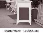 Empty Sign on Cafe Terrace - stock photo
