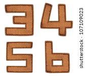 set of Leather alphabet isolate on white - stock photo