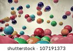 bouncing gumballs isolated on white background - stock photo