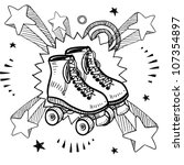 Doodle style sketch of rollerskates on pop explosion background in 1960s or 1970s style in vector illustration. - stock vector
