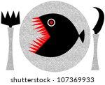 piranha halloween dinner - stock vector