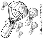 Doodle style bombs descending on parachutes in vector format. - stock vector