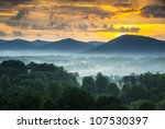 Asheville NC Blue Ridge Mountains Sunset and Fog Landscape Photography near the Blue Ridge Parkway in Western North Carolina - stock photo