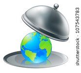 Illustration of the world globe on a silver platter. Concept for world on plate (opportunity or success), or environmental stewardship. - stock vector